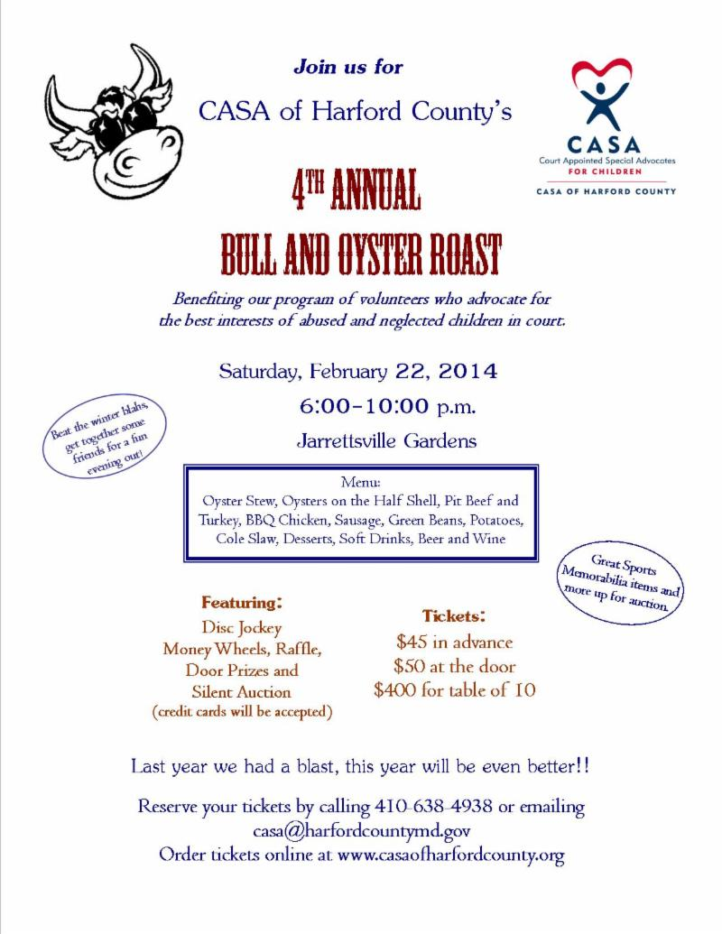 4th Annual Bull and Oyster Roast @ Jarrettsville Gardens