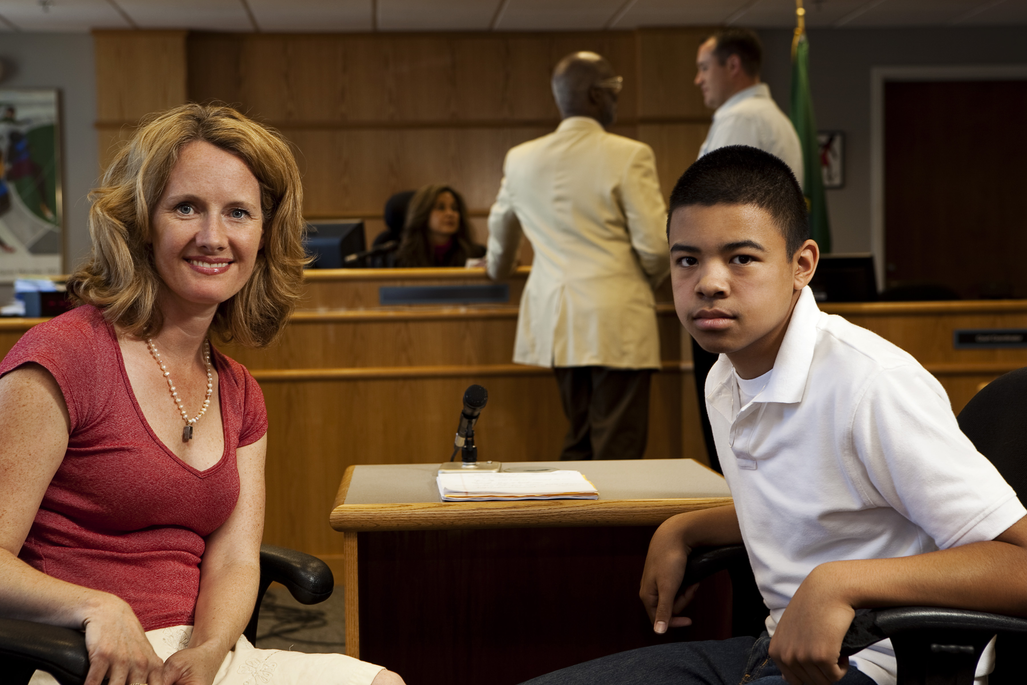 young man and advocate in court