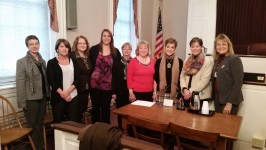 Shown here from left to right: Jennifer Fuss (Program Manager), Corey Hardinger-Wilt (Case Supervisor), Master Kathryn Brewer Poole, Kayla Hawkesworth (CASA), Beth Murphy (CASA), Sylvia Jacobs (CASA), Deanna Murphy(CASA), Heather Hill(CASA), Peg Marose (Trainer)