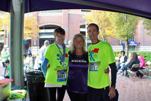 From L to R: Lisa Lunghofer, MD CASA Board President; Nancy Hafford, Towson Chamber of Commerce; Ed Kilcullen, MD CASA State Director at the 2014 Baltimore Running Festival