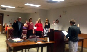 Judge Jane Cairns Murray administers the CASA oath to new CASA volunteers (L to R) Jerry David, Deborah Carbin, Heather Kellum, Annmarie Hamilton, and Cori Newell to speak up for foster children in need of safe and permanent homes in Cecil County