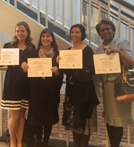 From L to R: Megan M., Karen L., Amy F., and Sheree W. display their certificates after being sworn in by Magistrate, F. Michael Harris in St. Mary's County.